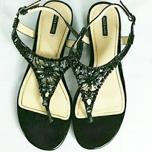 Alex Marie Black and Tan Women's Strap High Heels